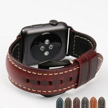 Red vintage genuine cow leather watch strap bracelet watch accessories for apple watch band 42mm 38mm iwatch watchbands
