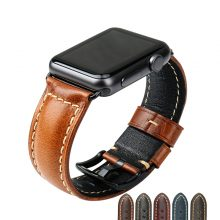 Watch Accessories Watchband Black Oil Wax Leather Strap For Apple Watch Band 42mm 38mm Series 3/2/1 iWatch Wristband